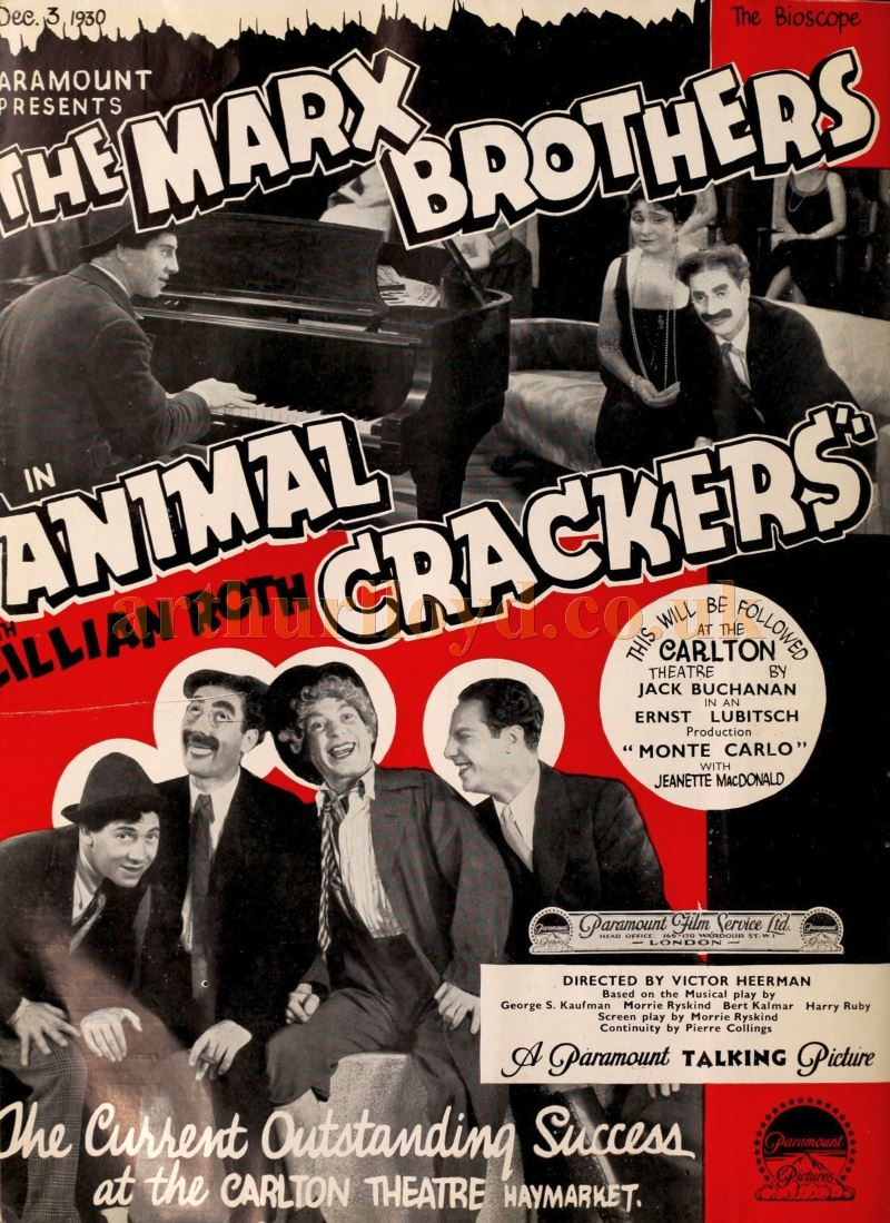 An Advertisement for the Marx Brothers' film 'Animal Crackers' at the Carlton Theatre, Haymarket in 1930 - From 'The Bioscope', November 1930.