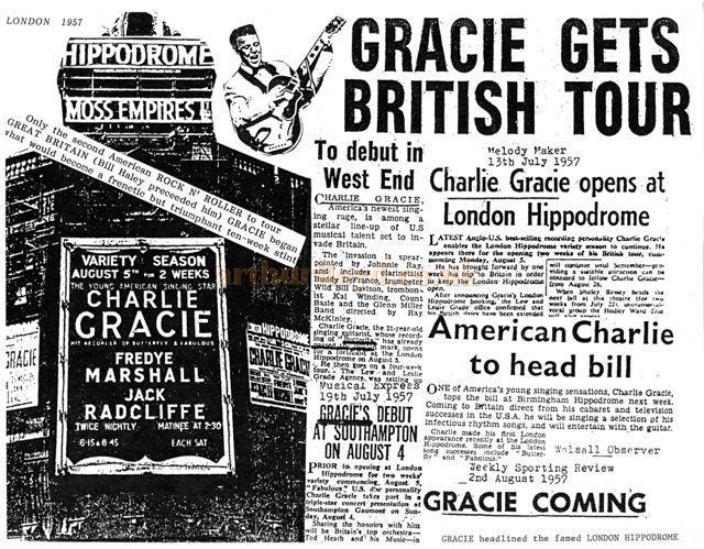 Press cutting about Charlie Gracie at the London Hippodrome in August 1957 - Courtesy Charlie Gracie Junior.