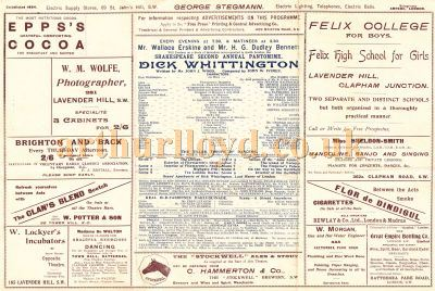 An early programme for the Shakespeare Theatre, Clapham Junction, for a production of the pantomime 'Dick Whittington' at Christmas 1897/98.