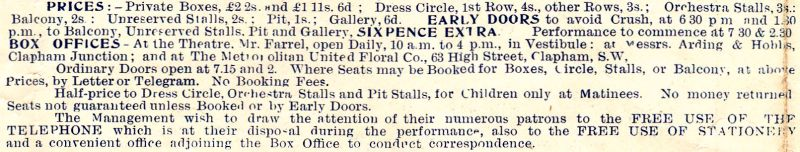 Prices and Box Office Details for the Shakespeare Theatre Clapham Junction, from a programme for the pantomime 'Dick Whittington' at the Theatre, Christmas 1897/98.