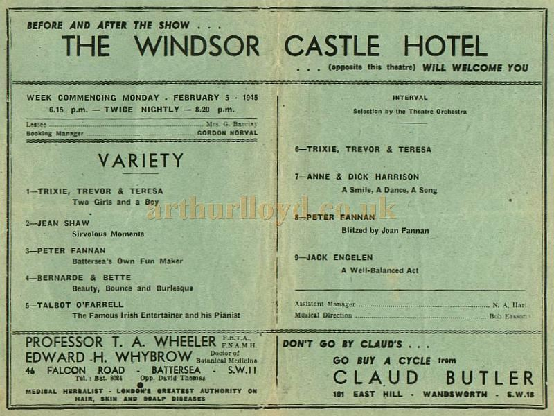 Variety Programme for the Grand, Clapham in 1945 - Courtesy Alan Chudley.