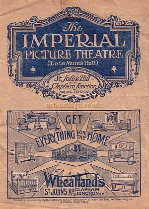Programme for the Imperial Picture Theatre (Late Munt's Hall), Clapham Junction.