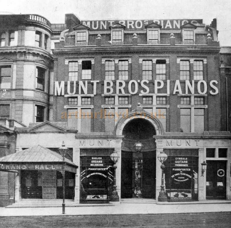 A photograph of Munt's Bro's Pianos and the Entrance to the now renamed Grand Hall, Clapham Junction - Courtesy The Munt Family Archive.
