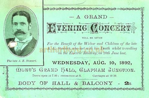 A Ticket for a Grand Evening Concert' at Munt's Hall for a Benefit for the Widow and Children of A. E. Stewart, on August the 10th 1892 - Courtesy The Munt Family Archive.