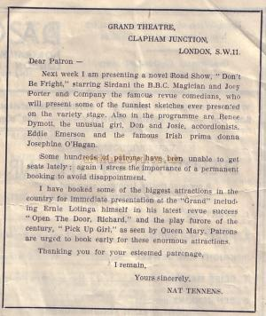 Excerpt from 1947 programme under the Nat Tennens' Management.