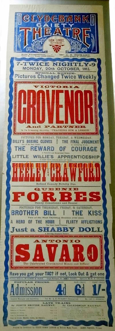 A poster for a Twice Nightly variety show at the Clydebank Gaiety Theatre on Monday the 20th of October 1913 - Courtesy Dan Muir.