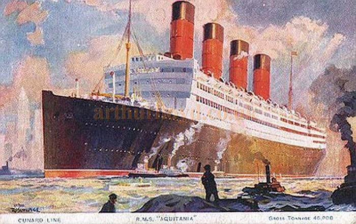 A postcard depicting Cunard's R.M.S. Aquitania - Courtesy Graeme Smith