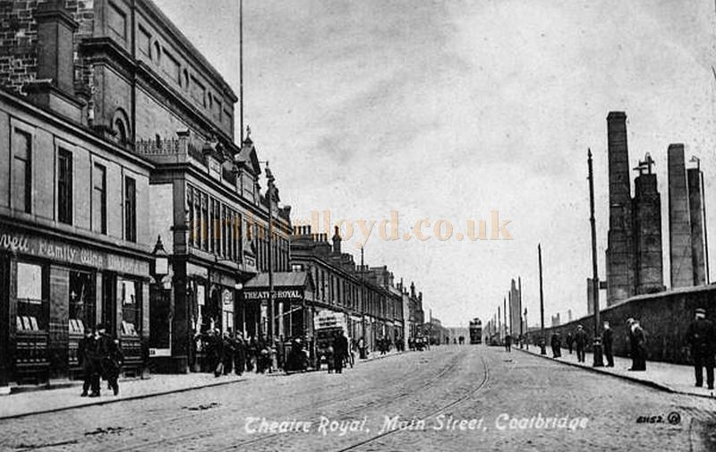A postcard showing Main Street, Coatbridge and the Theatre Royal - Courtesy Graeme Smith