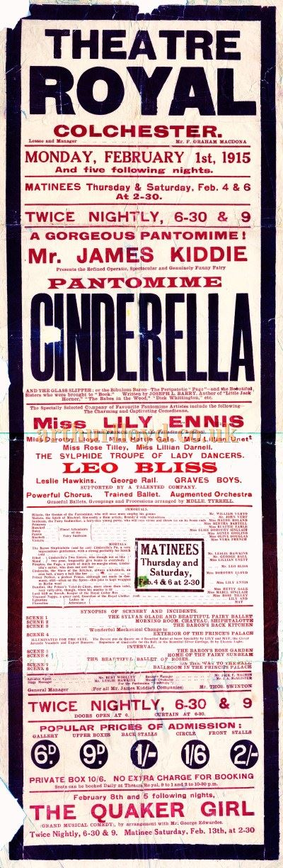 A Poster for a production of the pantomime 'Cinderella' at the Theatre Royal, Colchester in February 1915 - Courtesy Greg Fox.