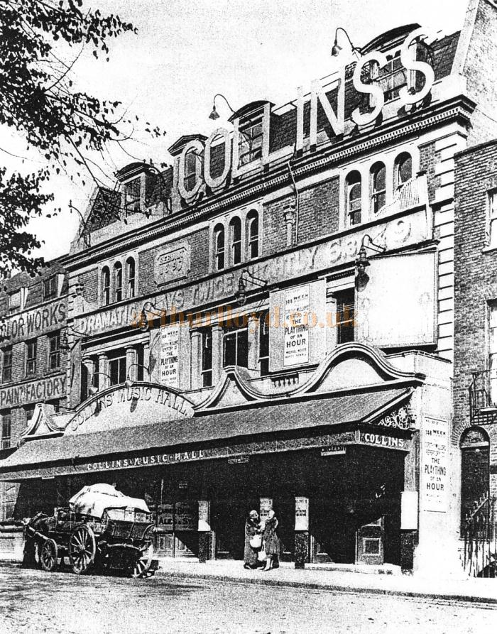 An image of the original frontage of Collins' Music Hall - Courtesy Peter Charlton