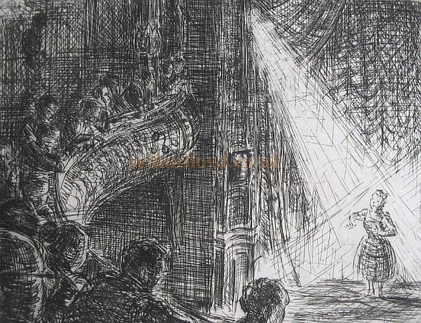 Collins' Music Hall auditorium and stage - From an original engraving by D. J. Higgins - Courtesy 'Alexandra O'Connor' and Sue Sokhan.