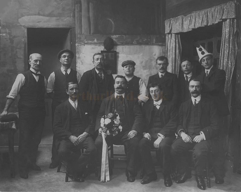 A photograph of the stage manager and his staff on stage at Collins' Music Hall - Courtesy Christine Heels