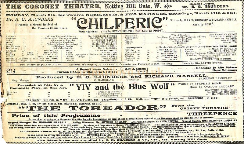 Programme for the Comic Opera 'Chilperic' at the Coronet Theatre, Notting Hill Gate at the time the Theatre was still under its original management of Mr. E. G. Saunders in March 1903.