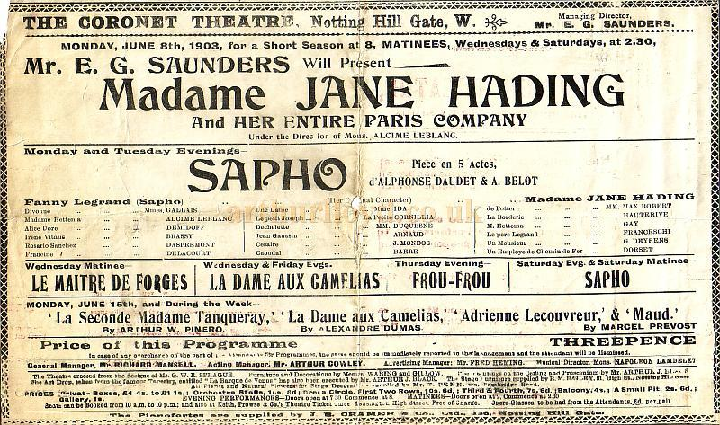Programme for 'Sapho' at the Coronet Theatre, Notting Hill Gate at the time the Theatre was still under its original management of Mr. E. G. Saunders in June 1903.