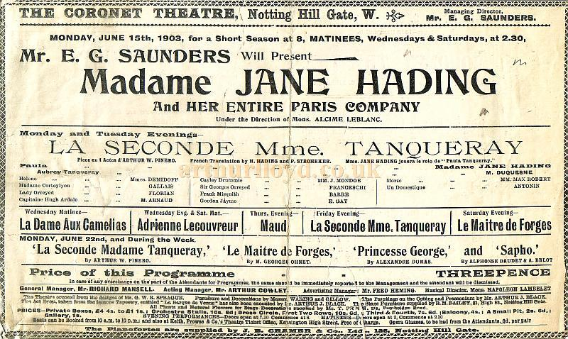 Programme for 'La Seconde Mme. Tanqueray' at the Coronet Theatre, Notting Hill Gate at the time the Theatre was still under its original management of Mr. E. G. Saunders in June 1903.