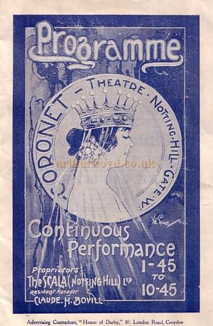 A film programme for the Coronet Theatre, Notting Hill Gate for the month of September 1924.