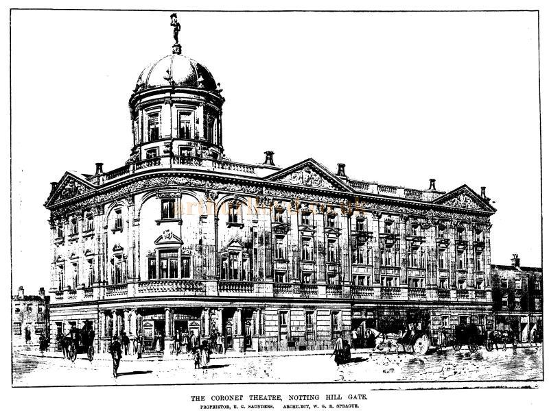 A Sketch of the Coronet Theatre, Notting Hill Gate - From the ERA in their 26th of November 1898 edition - To see more of these Sketches click here.