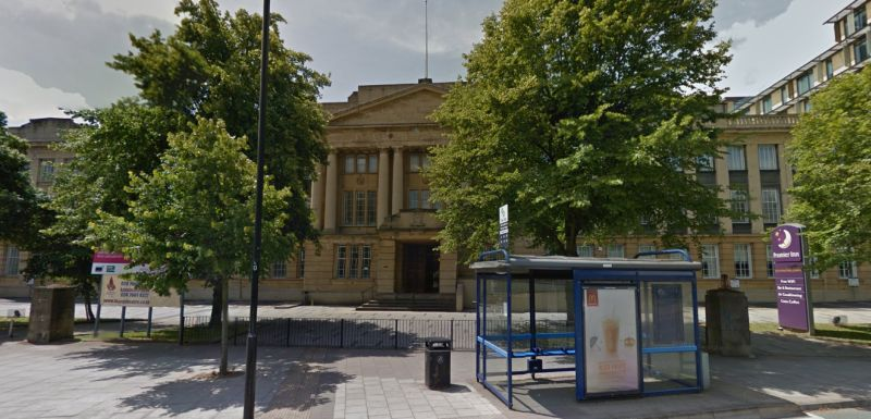 A Google StreetView Image of the shared entrance to the Albany Theatre and Premier Inn, Coventry - Click to Interact.
