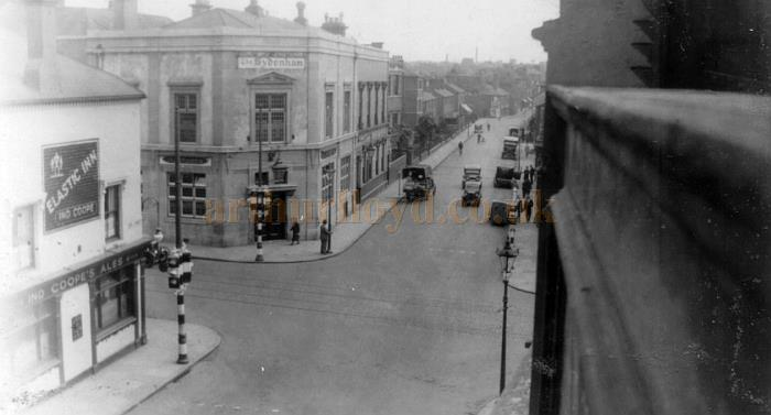 The view from the roof of the Alexandra Theatre, Coventry in the 1930s or 1940s, showing the Elastic Inn and the Sydenham.