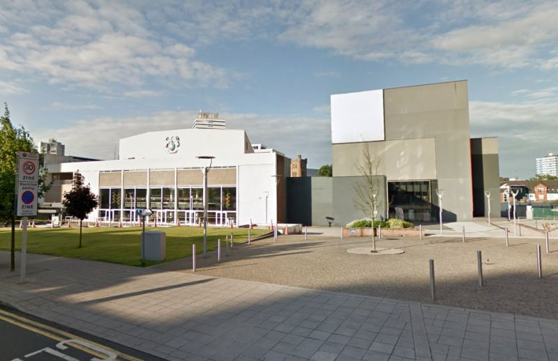A Google StreetView Image of the Belgrade Theatre and B2 Studio, Coventry - Click to Interact
