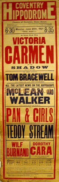 Poster for a Variety show at the Coventry Hippodrome on June 20th 1921 - Courtesy Stephen Wischhusen.