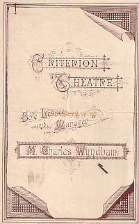 Programme for 'The Candidate' and 'Naval Engagements' at the Criterion Theatre in 1885. - Click for details.