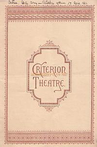 Programme for 'The Man With 3 Wives' at the Criterion Theatre in 1886 - Click for details.