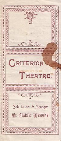 Programme for 'The Case of Rebellious Susan' at the Criterion Theatre in 1894 - Click for details.