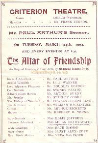 Programme for 'The Altar of Friendship' at the Criterion Theatre in 1903
