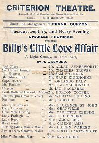 Programme for 'Billy's Little Love Affair' at the Criterion Theatre in the Early 1900s.