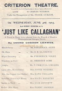 Programme for 'Just Like Callaghan' at the Criterion Theatre in 1903.