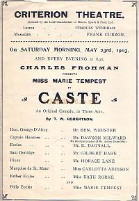 Programme for 'Caste' at the Criterion Theatre in 1903.