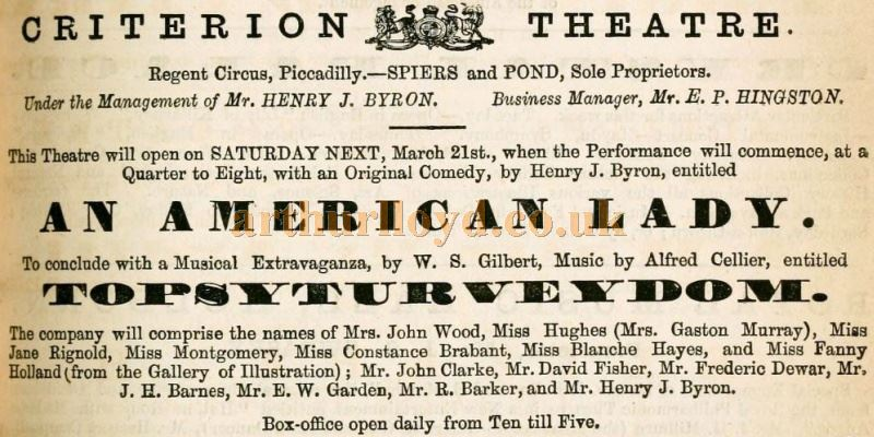 An advertisement for the opening of the Criterion Theatre - From the Theatrical Observer, March 1874.