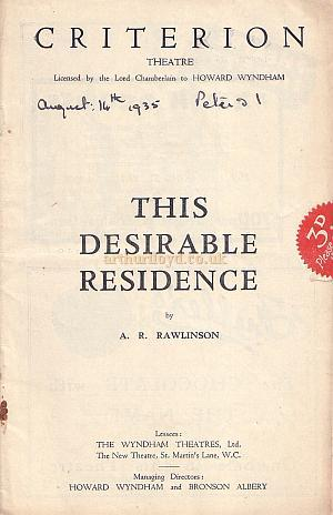 Programme for 'This Desirable Residence' at the Criterion Theatre in August 1935.