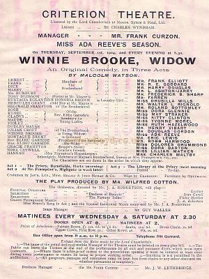 Programme for 'Winnie Brooke, Widow' at the Criterion Theatre in the early 1900s.