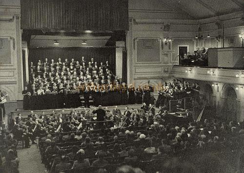 The Auditorium and Stage of the Civic Hall, Croydon showing the Croydon Philharmonic Choir in 1953 - From the Croydon Philharmonic Choir's 50 years celebration program in 1964. (Some of the choir can be seen up in the right balcony) - Photo by Cosser Photographic Services - Courtesy Gavin Wood.