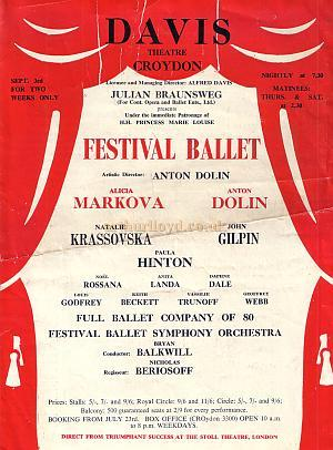 Programme for 'The Festival Ballet Season' at the Davis Theatre, Croydon September 1951 - Courtesy Jean Lloyd - Part of a collection of programmes from my parents Theatre visits in their first years of marriage. Click to see entire Programme.