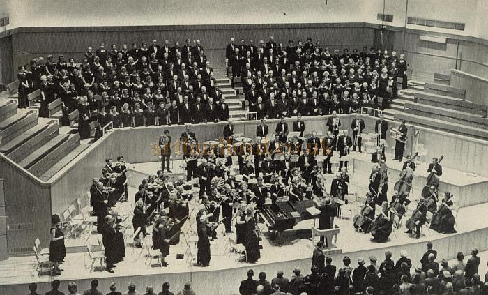 An orchestra and choir perform in the Concert Hall of the Fairfield Halls in 1963 - Photographed by Archie Handford Ltd - Courtesy Gavin Wood.