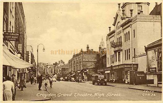 The Grand Theatre, formerly the Grand Theatre and Opera House, Croydon - From a postcard. In the far distance can also be seen the Davis Theatre, and to the right centre can be seen the clock tower of the old Town Hall which has since been rebuilt and renamed 'The Clock Tower' which now incorporates a library, cafe, museum, and the David Lean Theatre / Cinema.