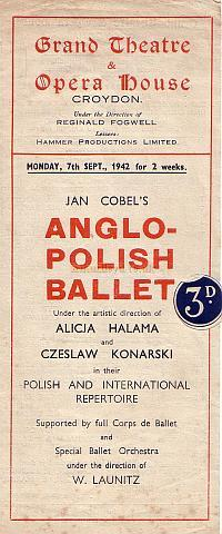 Programme for the Anglo Polish Ballet performing at the Grand Theatre and Opera House, Croydon on Monday the 7th of September 1942 for two weeks.