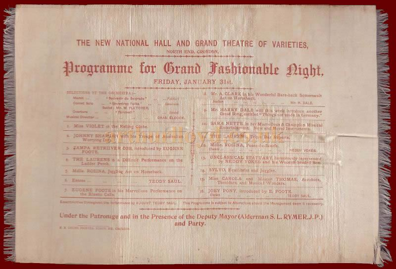 A silk Programme for a 'Grand Fashionable Night' at the new National Hall and Grand Theatre of Varieties, Croydon, date unknown but probably 1895.