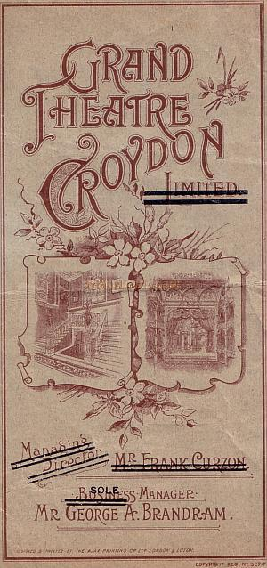 Early Croydon Grand Programme for 'A Country Girl'