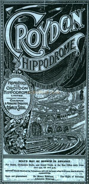 Variety Programme for the Croydon Hippodrome Theatre of Varieties for the week of 23rd of January 1911 - Courtesy Colin Charman whose Grandmother, Little Ena Dayne, was on the Bill for that week.