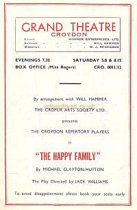 Programme for 'The Happy Family' at the Croydon Grand Theatre August 20th 1951 - Courtesy Jean Lloyd - Part of a collection of programmes from my parents Theatre visits in their first years of marriage.