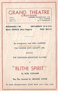 Programme for 'Blithe Spirit' at the Croydon Grand Theatre September 17th 1951 - Courtesy Jean Lloyd - Part of a collection of programmes from my parents Theatre visits in their first years of marriage.