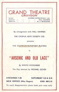 Programme for 'Arsenic and old Lace' at the Croydon Grand Theatre November 19th 1951 - Courtesy Jean Lloyd - Part of a collection of programmes from my parents Theatre visits in their first years of marriage.
