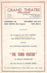 Programme for 'The Third Visitor' at the Croydon Grand Theatre August 27th 1951 - Courtesy Jean Lloyd - Part of a collection of programmes from my parents Theatre visits in their first years of marriage.
