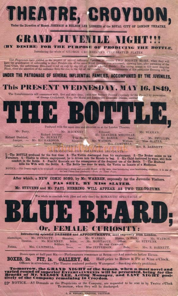 A silk Bill for 'The Bottle' and 'Blue Beard' at the Theatre, Croydon during its opening season on May 16th 1849 - Courtesy Patricia Smith and Albert Seaman