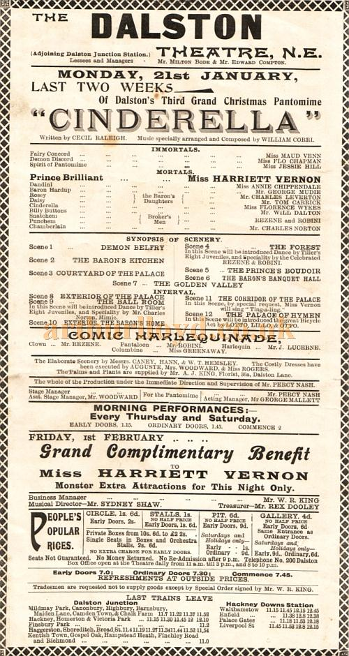 Cast details from an early pantomime programme for 'Cinderella' at the Dalston Theatre under the management of Milton Bode and Edward Compton - Billed as 'Dalston's Third Grand Christmas Pantomime' so probably produced in the early 1900s.