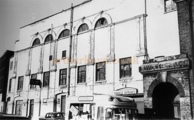 The side elevation of the former Dalston Theatre in a photograph taken in 1973